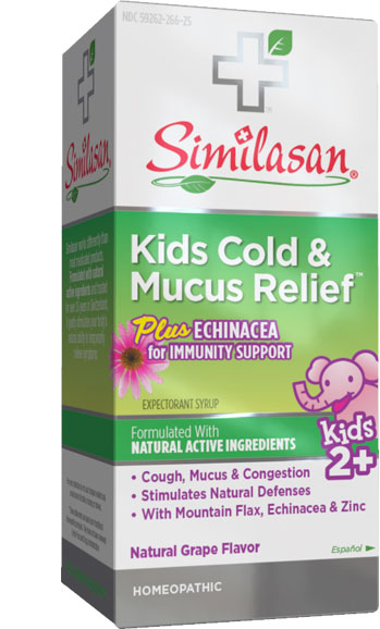 Alivio para el Resfriado y la Mucosidad Infantiles con Equinácea como complemento inmunológico