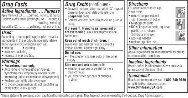 Allergy eye relief drug facts