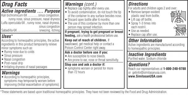 sinus relief drug facts